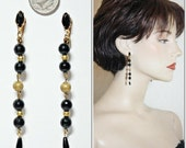 Vintage LEWIS SEGAL Black Gold Rhinestone Bead Dangle Earrings Pierce/Clip Findings