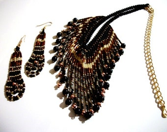 BEADWORK Jewelry Set In Copper Black Onyx Pearl Beaded Tassel Bib Necklace & Earrings for Women