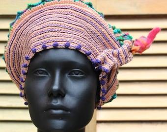 Pinks & Blues Cotton Crochet Hat with an Exquisite Felt Flower Pin...