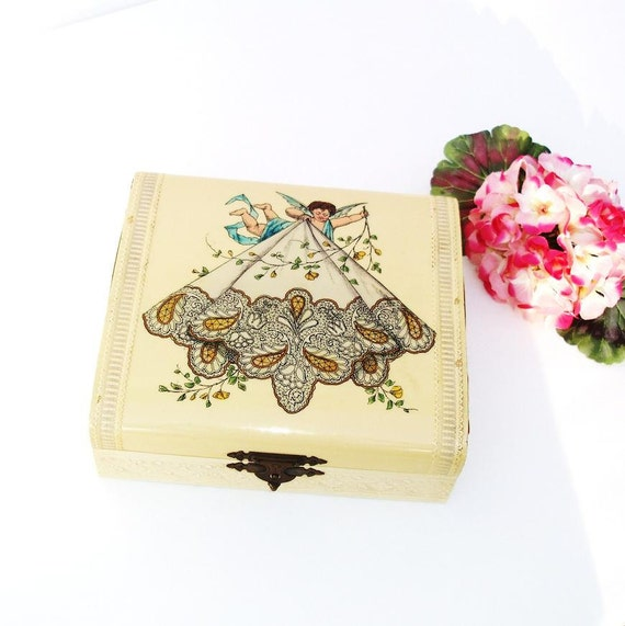 Antique Hankie Box Dresser Storage Box Hankerchief Keeper Celluloid Lithograph Angel Blue Off White Yellow