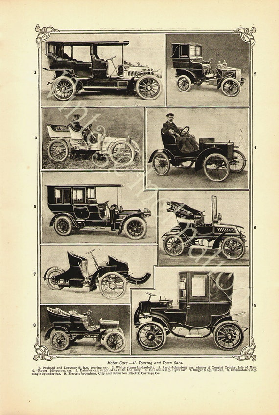 Antique print MOTOR CARS, 9 touring and town cars, printed 1907 with decorative Edwardian border art illustration