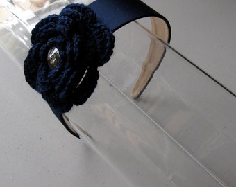Navy Blue Woven Crystal Flower Satin Headband, for weddings, parties, special occasions
