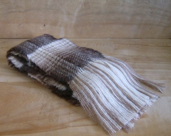 SALE - Alpaca Wool Scarf - Brown Cream Tan Rustic
