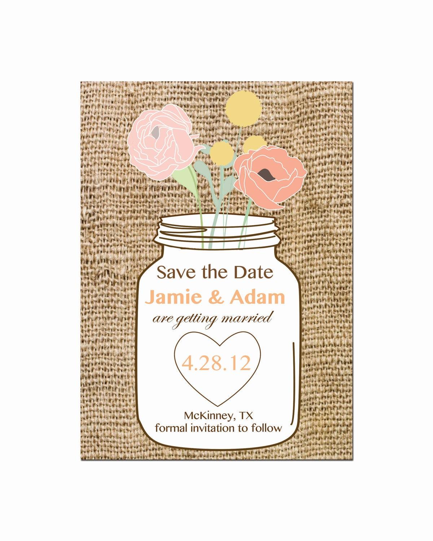 mason jar save the date wedding invitation by
