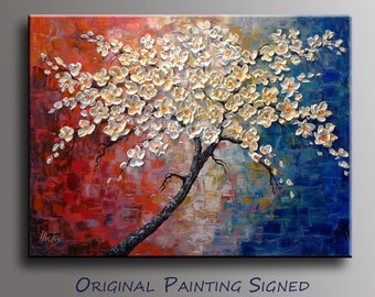 """Original Contemporary painting on canvas Oil and Acrylic Impasto - Ivoire Flowers - By Nick Sag 32"""" x 24"""""""