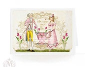 Jane Austen, card, Regency couple, high tea, rose teacup, pink tulips, birthday card, tea party,  pink, green, there is always time for tea