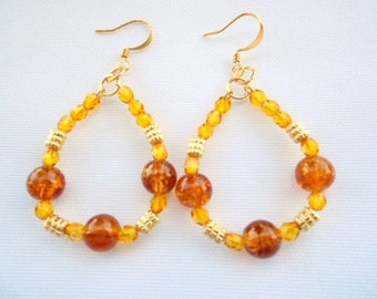 Amber Crackle Hoop Earrings Crackle Glass Ribbed Gold Coils