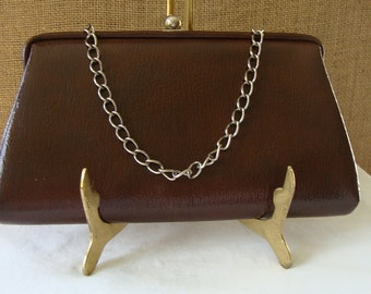 MID CENTURY Coffee Brown Vinyl Handbag Clutch Purse Textured Rich Coffee Brown With Gold Chain Hand Bag Fashion Chocolate Brown Purse
