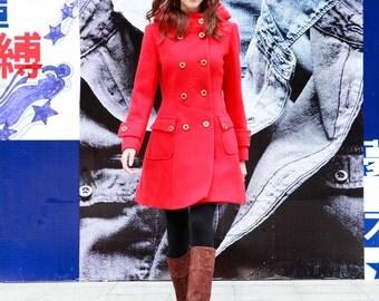 Red Jacket Hooded Coat Double breasted Hoodie Wool Coat Winter Jacket - Custom Made - NC423