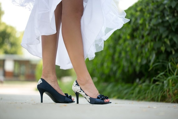 Wedding Shoes - Navy Blue Bridal Shoes with Ivory Lace. US Size 10