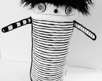 POLKADOTTYDOLL - Large Soft Sculpture Art Doll - Black and White Stripe Plush Art Doll - Modern Plush Soft Sculpture - LYNDA BLACK