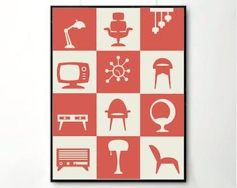 Poster, Retro furniture,furniture art print, Home Decor, Retro Art, Mid century art, Retro Posters, Retro prints
