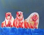 Miniature Archival Watercolor Paper Print, Polar Bear Blush on Slate, 4.5x4.5, Arctic, Polar Bear, Blues, Blush, Pinks, Vibrant  Colors