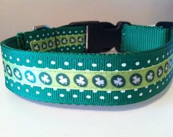 1 Inch Green Polka Dot and Shamrock on Circles St. Patrick's Day Dog Collar