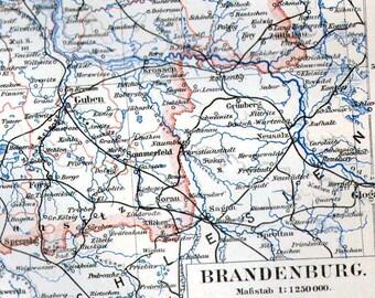 Brandenberg Berlin Frankfurt Germany Map 1903 Vintage Edwardian Steel Engraving European Cartography To Frame