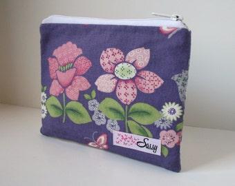 Purple Floral Makeup Bag, Medium Cosmetic Bag, Lined Make up Bag