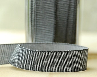 Black Denim Ribbon Twill Tape Sewing Notion Gift Wrapping Charcoal .75 Inch 5 Yards