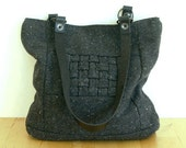 Charcoal tweed interlaced bag with leather handles - Mosaic Collection