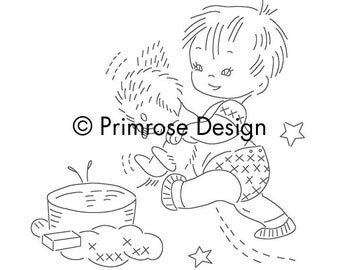 Vintage Hand-Embroidery Pattern PDF - Lil' Angels (12 Designs—6 Girls, 6 Boys)