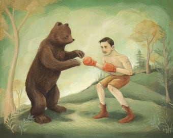 A Boxing Match Print 10x8