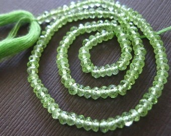Great Quality Peridot Micro Faceted Rondells