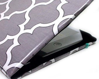 iPad Mini Cover - Grey Lattice - hardcover case for iPad Mini - women's tablet accessory - ogee pattern kindle paperwhite cover