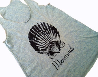 Mermaid Tank Top - Sea Shell American Apparel Tri-Blend Tank - Available in sizes S, M, L