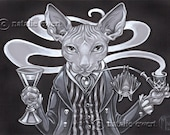 Lord Hairless with Pipe & Sherry Signed Art Print-Sizes-2.5x3.5, 5x7 or 8x10 In., Devon Rex Spynx Peterbald Victorian Gothic Bat Pipe