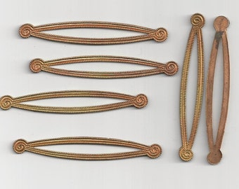 6 Vintage Brass Decorative Findings