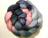 Handdyed Merino Wool/Tussah Silk Roving - Expectant - blue, pink, sky, slate