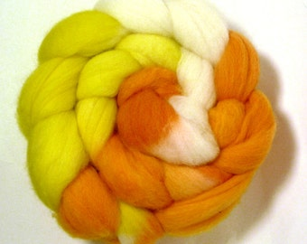 Handdyed Polwarth Wool Roving - Sunshine and Ice Cream - yellow, white, orange, gold
