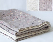 Made to order - organic cotton baby quilt - tiny triangles in lilac and cream