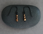 small bronze earrings with faceted beads - everyday jewelry - tiny earrings