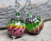 Green Buddhas on the Fruit Stand earrings ... lampwork watermelons with swarovski and sterling silver artisan earwires