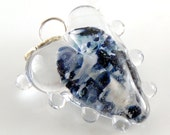 REDUCED Starry Night Heart - Handmade Artisan Lampwork Glass Bead Pendant - Blue, Sparkle, Clear - SRA