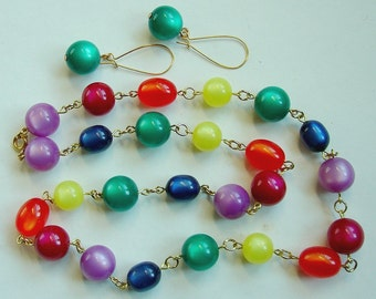 Long Lucite Moonglow Rainbow Bead Chain Necklace & Earrings