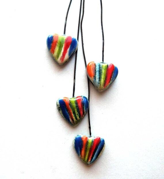 Handmade Ceramic Heart Head Pins Colorful Stripes