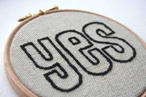YES Hand Stitched Embroidered Wall Hoop Art Positive