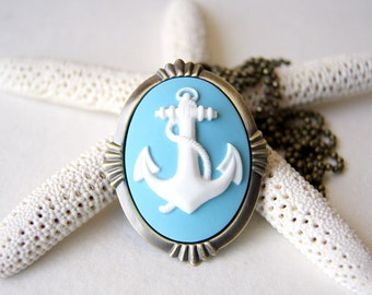 Anchor Necklace - white  and sky blue anchor necklace - anchor brooch - Anchor Jewelry - Nautical Fashion - Summer Fashion