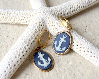 Anchor Earring - cameo jewelry - navy blue and ivory anchor earrings - nautical fashion - Anchor Jewelry