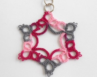 SALE - Tatted Lace Pendant - Tatted Pendant - Victorian Pink Marble - Ready to Ship - Last Chance