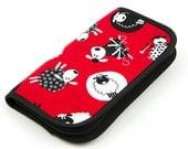 Travel Size Zip Around knitting needle case organizer - red sheep - black pockets see-thru notions zipper pouch