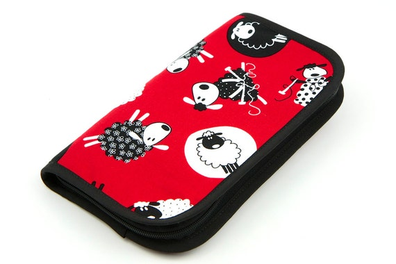 Travel Size Zip Around knitting needle case organizer - red sheep - black pockets see-thru notions zipper pouch