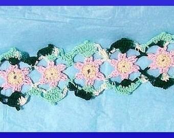 Crochet Bookmark Pattern, Chain of Flowers