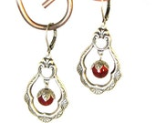 CLEARANCE 50% OFF Delicate Victorian Style Earrings Silver with Ruby Czech Glass Beads by Nouveau Motley
