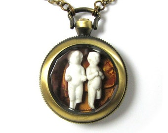 """Steampunk Pocket Watch Necklace N'OUBLIEZ PAS """"The Give and Take Twins""""  Circa 1880s Frozen Charlotte Dolls Orange Silk by Nouveau Motley"""