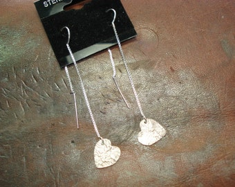 Threader style dangle earrings with reticulated hearts