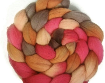 Handpainted Superfine Merino Wool Roving - 4 oz. PERSIMMON - Spinning Fiber