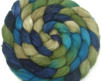 Handpainted Superwash BFL Nylon 80/20 Sock Roving - 4 oz. BLUE EYES - Spinning Fiber