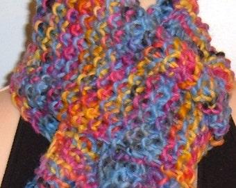 Hand Knit Wool Scarf Pink Blue Gray Yellow handmade chunky Handpainted